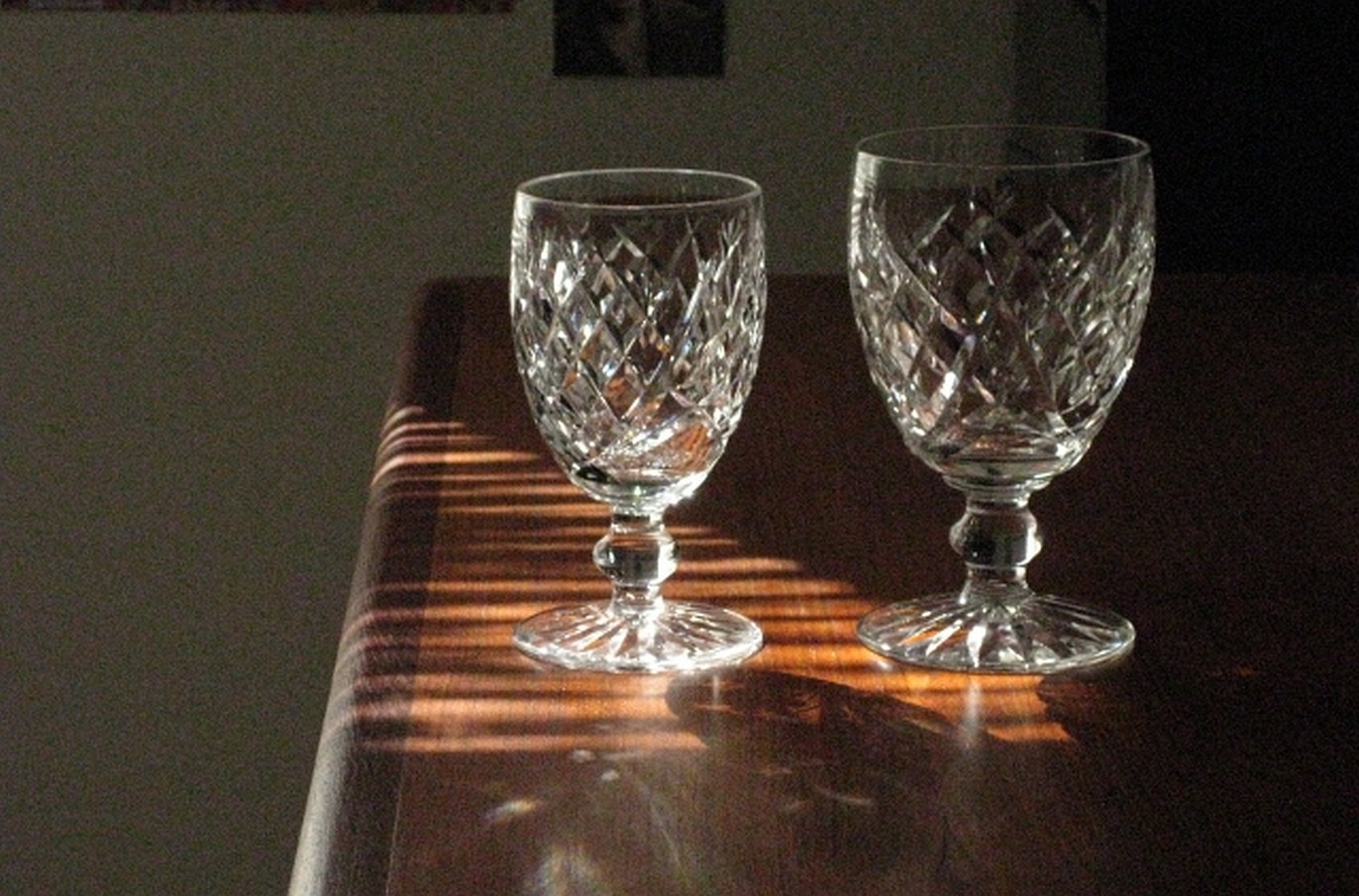 T3a. Waterford small goblet next to large